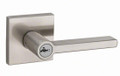 Kwikset 156HFL-15S Satin Nickel Halifax Single Cylinder Keyed Entry Door Lever Set with Square Rosette and SmartKey Technology Door Handle