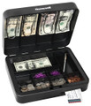 "3.7""  x 11.8"" x 9.5"" Deluxe Steel Cash Box Removable Cash Tray HWDS6113"