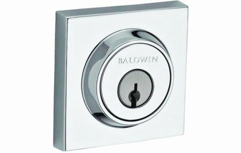 Baldwin SCCSD260 Polished Chrome Square Keyed Entry Single Cylinder  Deadbolt Door Lock