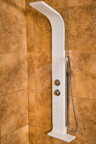 PULSE ShowerSpas Mirage ShowerSpa White Stainless Steel Shower Panel