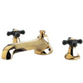 Polished Brass Kingston Brass Metropolitan Onyx Roman Tub Filler With Black Porcelain Cross Handle, Polished Brass KS4302PKX