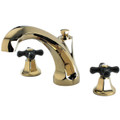 Polished Chrome/Polished Brass Kingston Brass Metropolitan Onyx Roman Tub Filler With Black Porcelain Cross Handle, Polished Brass KS4322PKX