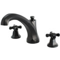 Oil Rubbed Bronze Kingston Brass Metropolitan Onyx Roman Tub Filler With Black Porcelain Cross Handle, Oil Rubbed Bronze KS4325PKX