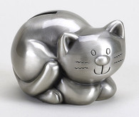 Adorable Silver Kitten Mini Money Bank