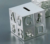 Baby Block Money Bank - Bright Nickel Finish