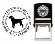 """Puppy Love"" Self-Inking Personalized Round Dog Design Address Stamp - CS3632"