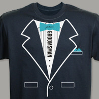 Tuxedo T-shirt - Personalized Groomsman T-Shirt in Teal