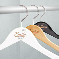 "Personalized 17"" Wood Hangers - Bridal Party Wedding Day"