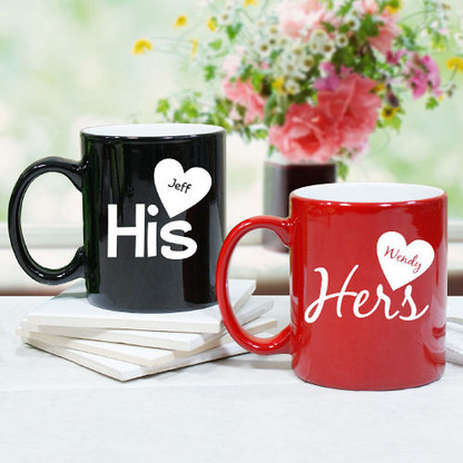 his and hers personalized coffee mug valentine 39 s day gift. Black Bedroom Furniture Sets. Home Design Ideas