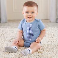 Little Man Bodysuit with Tie & Argyle Socks Gift Set