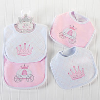 Little Princess Tiara & Carriage Pink Baby Bib Gift Set