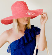 Coral Embroidered Adult Floppy Sun Hat