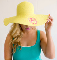 Yellow Embroidered Adult Floppy Sun Hat