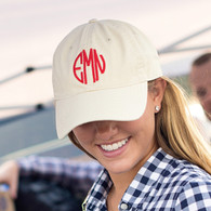 Khaki Natural Color Monogrammed Cap
