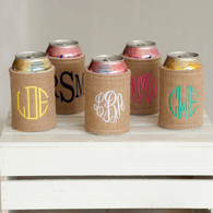 Rustic Burlap Personalized Monogram Can Coozie