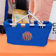 Personalized Royal Blue Collapsible Market Tote - Great for Tailgating!