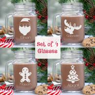 Set of 4 Christmas Design Personalized Mason Glass Jars