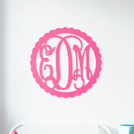 Scalloped 3 Initial Monogram Unfinished Door Hanger or Wall Accent