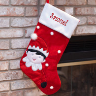 Personalized Elf Red Christmas Stocking