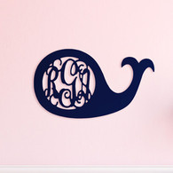 Whale Monogram Wood Accent - Shown Painted Navy Blue