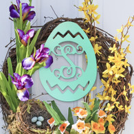 Easter Egg Single Initial Monogram - Unfinished Door Hanger or Wall Accent