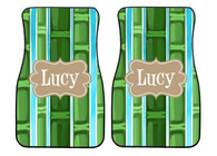 Bamboo Preppy Personalized Front Car Mats (Set of 2)