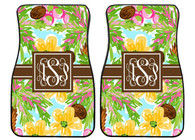 Coconut Palm Trees Tropical Personalized Front Car Mats (Set of 2)