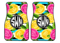 Flowers with Stripes Preppy Personalized Front Car Mats (Set of 2)