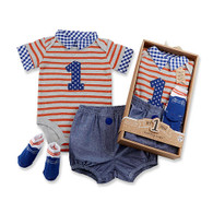 """""""My First Birthday"""" Baby Aspen 3-Piece Dapper Dude Outfit"""