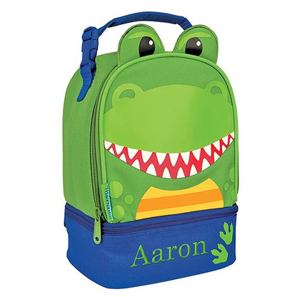 Dinosaur Lunch Pal Embroidered Tote - School Lunch Box Bag for Preschool Boys