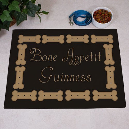 "Personalized ""Bone Appetit"" Pet Food Floor Mat"