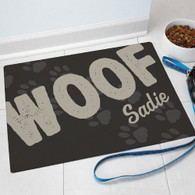 "Personalized ""WOOF"" Dog Themed Door Mat"