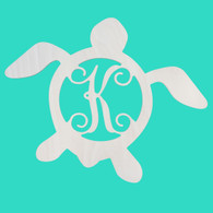 Sea Turtle Single Initial Monogram - Unfinished Door Hanger or Wall Accent