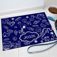 "Navy ""Cat Love"" Pet Food Mat Personalized GIFT - Solid Color Custom Floor Mat"