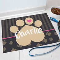 "Pink ""Love Paw Heart"" Pet Food Mat Dog or Cat Personalized GIFT - Custom Floor Mat"