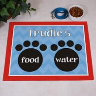Food & Water Paw Print Pet Food Mat for Dog or Cat Personalized GIFT - Custom Floor Mat