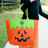 Monogram Jack-O-Lantern Mini Tote Candy Bag