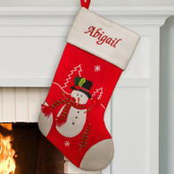Personalized Red and White Snowman Stocking