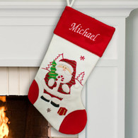 Personalized White and Red Santa Claus Stocking