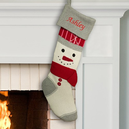 Personalized Knit Snowman Design Stocking