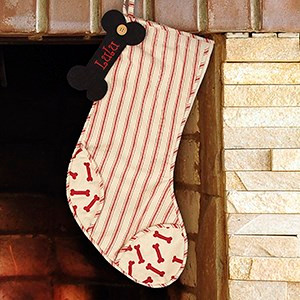Personalized Vintage Stripes Dog Bone Stocking