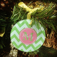 Round Glass Christmas Ornament - Personalized Monogram