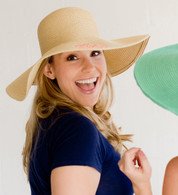 Natural Embroidered  Adult Floppy Sun Hat