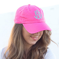 Monogrammed Hot Pink Twill Cotton Cap