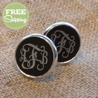 Engraved Vine Monogram Earrings - FREE Shipping