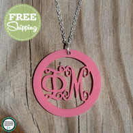 Script Greek Pendent Necklace - 12 Color Options!