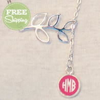 Silver Branch Engraved Circle Monogram Necklace - FREE Shipping