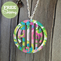 Bordered Circle Monogram Pendent Necklace - Mary Beth Goodwin