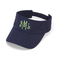 Monogrammed Navy Blue Cotton Twill Visor