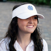 White Cotton Twill Visor with Embroidered Monogram